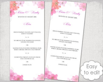 Flower menu etsy wedding menu template pink red diy menu flower garden watercolor floral printable menu mightylinksfo Choice Image
