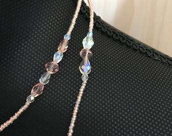 Long Pink Crystal Necklace