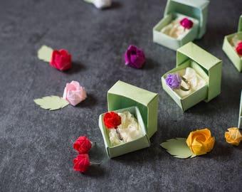 Ring with mini pink origami Paper/floral bijoux/origami paper Bijoux