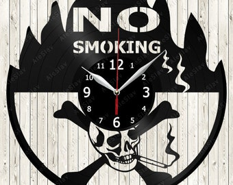 No Smoking Vinyl Wall Clock Handmade Art Decor Your Room Original Gift 1252