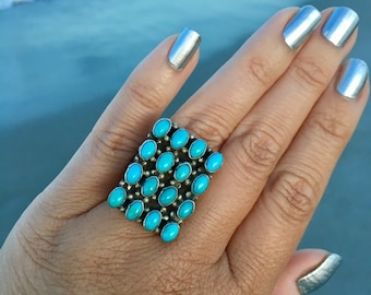 Beautiful Large Blue Turquoise Stone in Sterling Silver   Multi Stone Rings   Western Fashion   Southwestern Rings   Turquoise Vintage rings