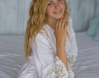Premium White Lace Trim Bridal Robe | Kimono Style getting ready robe, bridal shower gift, dressing gown, Solid White, Soft Rayon
