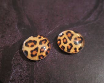2 round 12 mm Leopard print glass cabochon