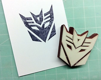 Transformers stamp(no.3).Rubber stamp. Hand carved stamp. Mounted