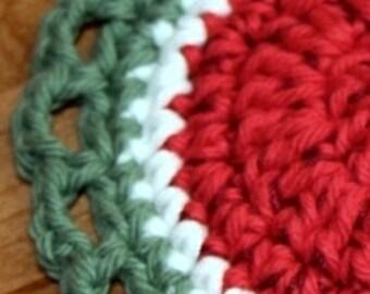 4 Crochet Fruit Watermelon Slices coaster mini doily