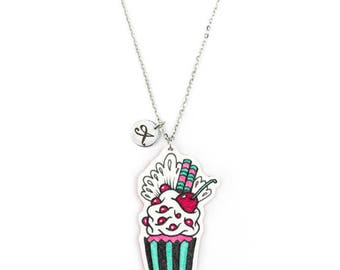 Necklace Cupcake Red