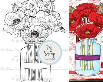 Poppies, Digital Stamp, Line Art, Colouring Page, Flowers, Mothers Day, Floral, Poppy Clipart, Poesy, Flower Jar, Digi Stamp, Bouquet, Plant