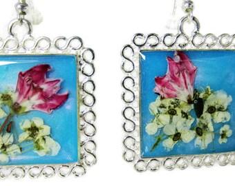 Flowers on Teal,  Real Flower Earrings, Pressed Flower Jewelry, Resin (1992)