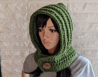 Women's green scoodie, chunky green scood, women's hooded scarf, women's accessories, gifts for her, fall, winter and spring fashion
