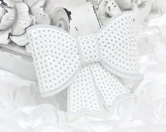 "Set of 2 - XL Sequin Bows - 3"" Metallic MILKY WHITE Sequin Bow Tie Appliques. Hair Accessories. Diy Supplies. Large Sparkling Bow"