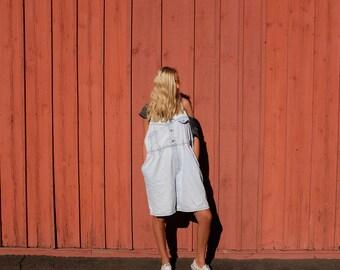 Vintage 90s GITANO Denim Jean Overalls - 1990s Overall Shorts - Cute Light Wash Denim Overalls - XL