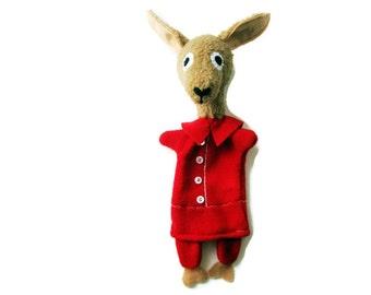 Llama - Llama Hand Puppet- Llama in Red Pajamas- Custom Made Storybook Character Hand Puppet