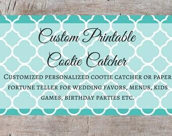 Custom Printable Cootie Catcher, Custom Printable Paper Fortune Teller, Custom Cootie Catcher, Custom Paper Fortune Teller, Children's Game