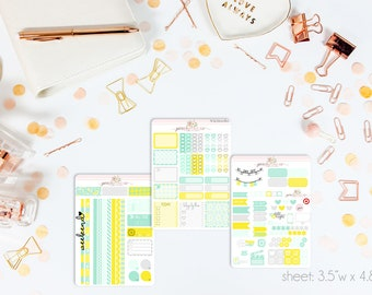 Mint Lemonade MINI Weekly Kit // 130+ Matte Planner Stickers // Perfect for your Personal Planner // WKM0080