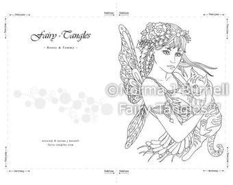 Printable Fairy Tangles Greeting Cards to Color by Norma J Burnell Cat and fairy coloring card for Card Making and Adult Coloring cats