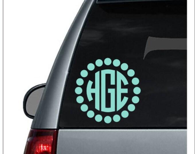 Large Dot Circle Monogram Car Monogram Decal Car Decal For Woman Monogram Decal Three Letter Decal Car Monogram Vinyl Car Decal Girl Decal