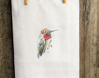 Hummingbird tea towel, flour sack cotton with watercolor art