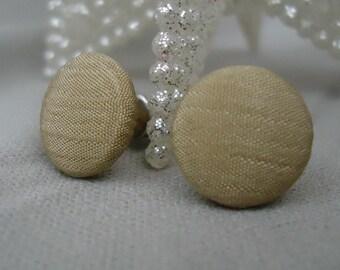 Tan Button Earrings