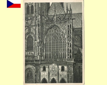 1945 Prague Czechoslovakia  - World Student Congress - St. Vitus Cathedral Facade Postcard G+