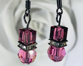 Pink Bead and Cube Swarovski Crystals Earrings