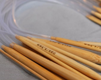 16 Inch Circular Bamboo Knitting Needles - Sizes US 10 or 10.5