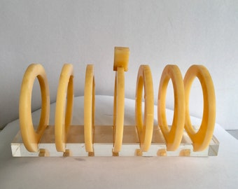 Toast rack event!!!  Butterscotch plastic and perspex toast rack 1950s ideal letter rack