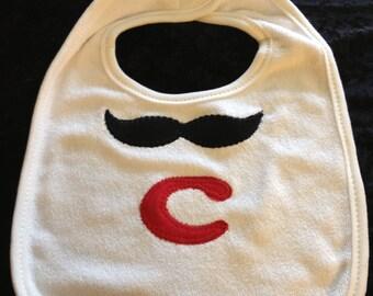 Mustache Monogrammed Bib
