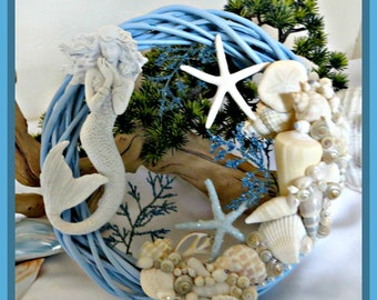 Blue Mermaid Wreath_seashell mermaid wreath_beach home decor_mothers day beach gifts