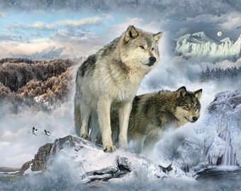 Wolf Fabric, Glacier Wolf, Call of the Wild, Wildlife -  Hoffman Fabrics - Q4439H-183 - Digital Print Fabric  - Priced by the 33-Inch Panel