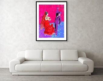 Flamenco Dancers Digital Art print Wall Art Home office Decor