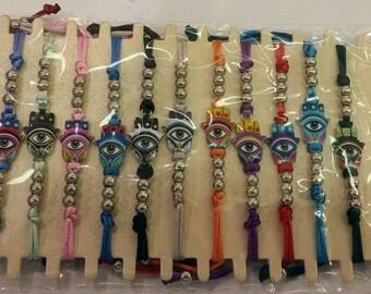 12 Pieces - Jewish Kabbalah Colored tone Hamsa Bracelet Evil Eye Charm