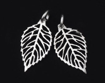 2 of 925 Sterling Silver  Leaf Charms 10x19 mm. :th1771