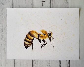 Bee Watercolour Print, Honey Bee, Wall Art, Home Decor