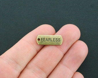 10 Fearless Charms Antique Bronze Tone - BC1209