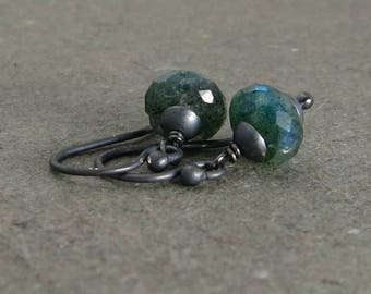 Green Labradorite Earrings Oxidized Sterling Silver Petite Minimalist Gift for Her