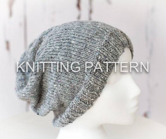 Knitting Patterndiy Instructions Slouch Beanie Hat