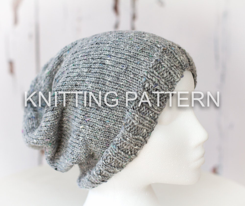 Knitting patterndiy instructions slouch beanie hat zoom bankloansurffo Image collections