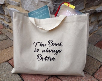 Book Club Tote, Canvas Bag with Custom Phrase, Embroidered, Personalized