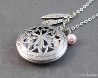 Leaf Pendant - Diffuser Necklace - Essential Oil Locket, Locket Pendant, Aromatherapy Locket Jewelry, Essential Oil Diffuser, Perfume Locket