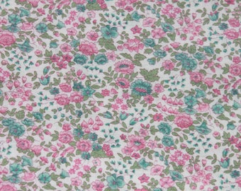 Vintage Small Print Pink and Blue Flower Cotton Fabric, Floral Doll Dress Quilting Sewing Fabric, 1 yard