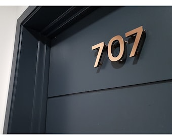 "Modern Contemporary 3""/75mm high floating House numbers in Antigoni, In Stock - copper faced - Polished and  lacquered"