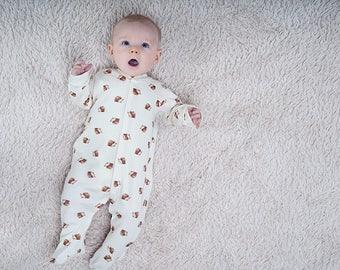 Organic hedgehog baby sleepsuit by British Babies