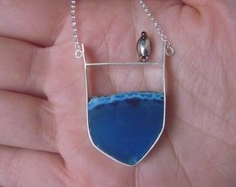 unique ice blue agate necklace