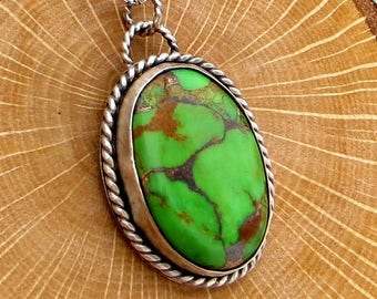 Green Turquoise Pendant Bezel Set Necklace Stone Pendant Sterling Silver Necklace Eco Friendly Jewelry Gifts for Her