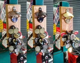 Magnetic bottle opener. Wall Mount Beer Opener. Cap Catcher. Craft Beer, Handmade, Retro, Barn, Man Cave, Log Cabin, Rustic decor
