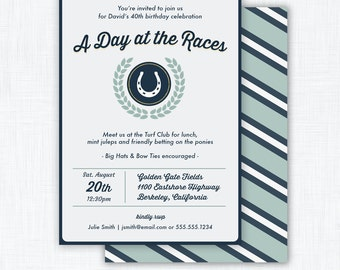 "Horse Race Party Invitation Printable ""Derby Party"""