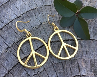 Gold Peace Signs . Earrings