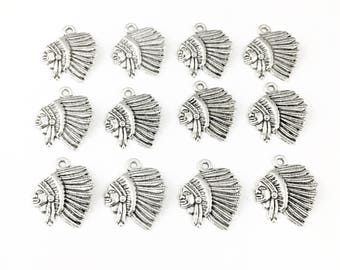 6 Indian chief  charms antique silver ,22mm # CH 478