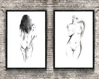 Naked Woman Set of 2 Painting, Nude Girl Poster, Erotic Art Print, Japanese Style Drawing, Sumi-e Room Decor