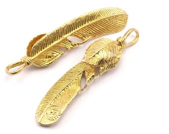 Feather Necklace Pendant, 2 Raw Brass Feather Charms, Feather Pendants (47x10mm) N179